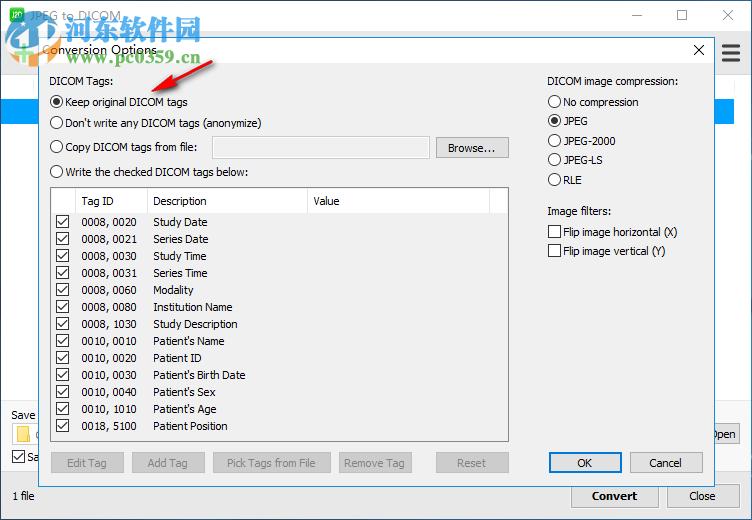 JPEG to DICOM保存DICOM标签数据的方法