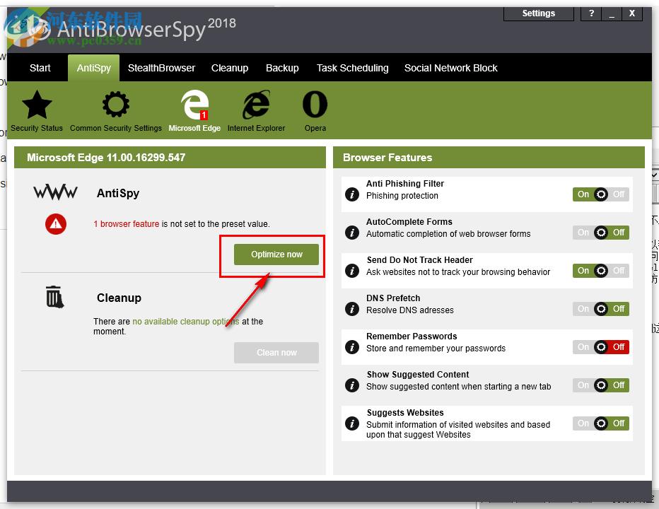 Abelssoft AntiBrowserSpy设置不跟踪浏览器行为的方法