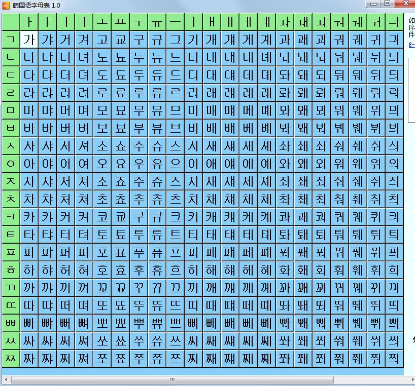韩语字母表及发音 韩语字母表