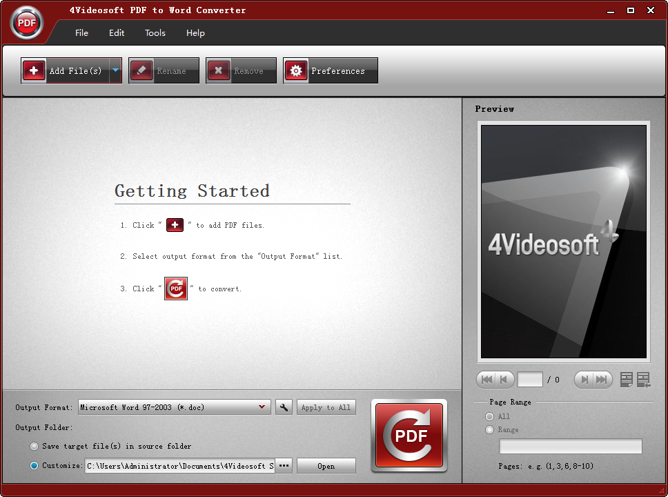 4Videosoft PDF to Word Converter(PDF转换word) 3.1.50 特别版