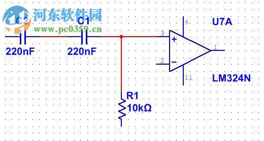 11.使用 On-page connectors 这个比较整洁的方式来为运算放大器连接电源,这样就可以避免直接从NI ELVIS II的+15V和-15V端口处连线。 浏览到Place»Connectors»On-page connector菜单来完成放置。
