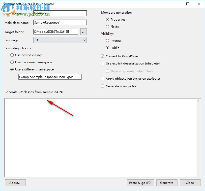 Json字符串转c#代码工具(Json Class Generator) 1.4.0.0 官方版