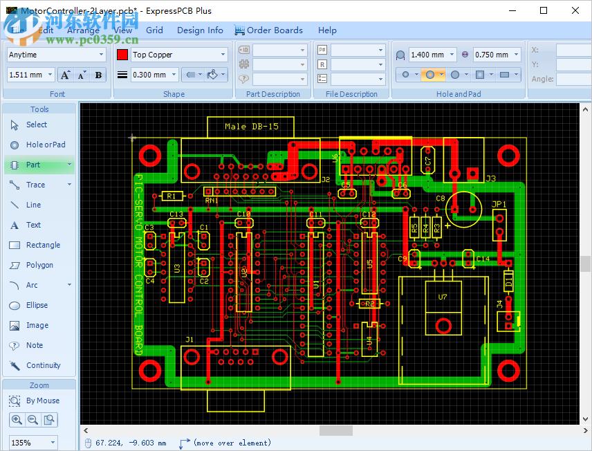 """ExpressPCB PLUS入门让我们逐步介绍一个创建新印刷电路板的简单示例。   软件启动时,单击""""新建""""按钮。    板尺寸   我们首先要设置电路板的尺寸。 但是,您可以随时调整它。 单击电路板轮廓以选择它。    单击电路板轮廓   窗户顶部有一条丝带。 功能区的""""大小和位置""""部分包括各种尺寸的文本字段。 对于矩形板,在""""宽度""""和""""高度""""字段中键入所需的值。 对于这个介绍性的教程,我正在制作0."""