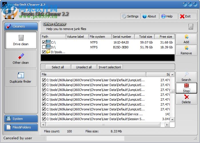Prosto Disk Cleaner(<a href=http://www.pc0359.cn/zt/cipanqingli/ target=_blank class=infotextkey>磁盘清理</a>工具) 2.2 官方最新版