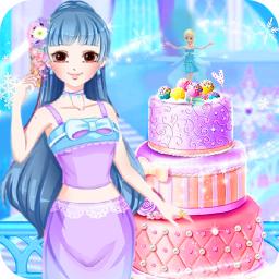冰雪小公主做蛋糕